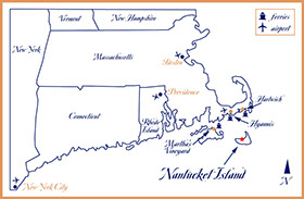 Map of Nantucket from land